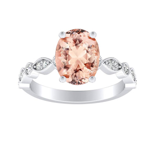 ATHENA  Vintage  Style  Morganite  Engagement  Ring  In  14K  White  Gold  With  1.00  Carat  Oval  Stone