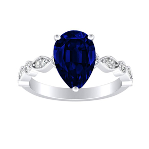 ATHENA  Vintage  Style  Blue  Sapphire  Engagement  Ring  In  14K  White  Gold  With  0.50  Carat  Pear  Stone