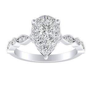 ATHENA Vintage Style Diamond Engagement Ring In 14K White Gold With Pear Diamond In H-I SI1-SI2 Quality