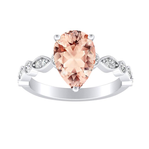 ATHENA  Vintage  Style  Morganite  Engagement  Ring  In  14K  White  Gold  With  1.00  Carat  Pear  Stone