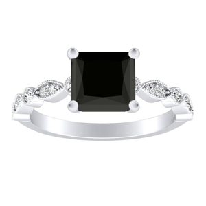ATHENA  Vintage  Style  Black  Diamond  Engagement  Ring  In  14K  White  Gold  With  1.00  Carat  Princess  Diamond