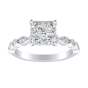ATHENA Vintage Style Diamond Engagement Ring In 14K White Gold With Princess Diamond In H-I SI1-SI2 Quality
