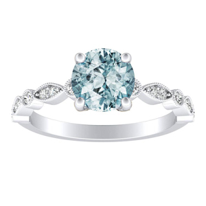ATHENA Vintage Style Aquamarine Engagement Ring In 14K White Gold With 1.00 Carat Round Stone