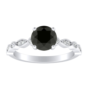ATHENA Vintage Style Black Diamond Engagement Ring In 14K White Gold With 1.00 Carat Round Diamond