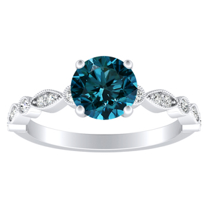 ATHENA  Vintage  Style  Blue  Diamond  Engagement  Ring  In  14K  White  Gold  With  0.50  Carat  Round  Diamond
