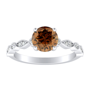 ATHENA Vintage Style Brown Diamond Engagement Ring In 14K White Gold With 0.30 Carat Round Diamond