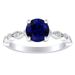 ATHENA  Vintage  Style  Blue  Sapphire  Engagement  Ring  In  14K  White  Gold  With  0.50  Carat  Round  Stone