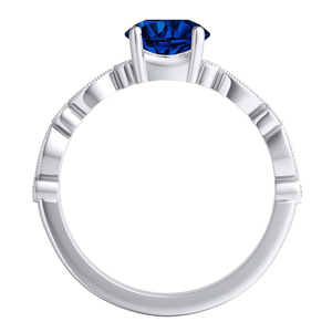 ATHENA  Vintage  Style  Blue  Sapphire  Wedding  Ring  Set  In  14K  White  Gold  With  0.50  Carat  Round  Stone