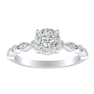 ATHENA Vintage Style Diamond Engagement Ring In 14K White Gold With Round Diamond In H-I SI1-SI2 Quality