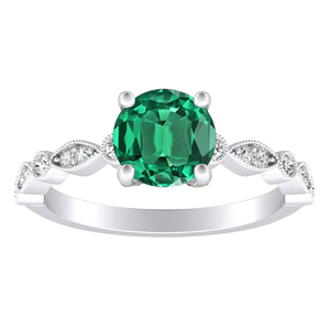 ATHENA Vintage Style Green Emerald Engagement Ring In 14K White Gold With 0.30 Carat Round Stone