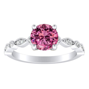 ATHENA  Vintage  Style  Pink  Sapphire  Engagement  Ring  In  14K  White  Gold  With  0.50  Carat  Round  Stone