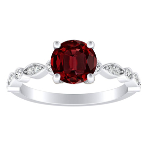 ATHENA Vintage Style Ruby Engagement Ring In 14K White Gold With 0.30 Carat Round Stone