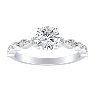 ATHENA Vintage Style Moissanite Engagement Ring In 14K White Gold With 0.50 Carat Round Stone