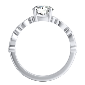 ATHENA Vintage Style Diamond Engagement Ring In 14K White Gold With 0.50ct. Round Diamond