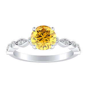 ATHENA  Vintage  Style  Yellow  Diamond  Engagement  Ring  In  14K  White  Gold  With  0.50  Carat  Round  Diamond