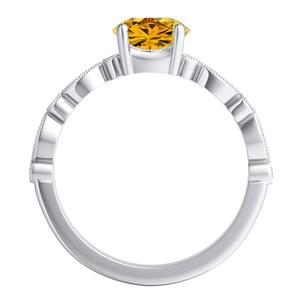 ATHENA  Vintage  Style  Yellow  Diamond  Engagement  Ring  In  14K  White  Gold  With  0.50  Carat  Round  Diamond