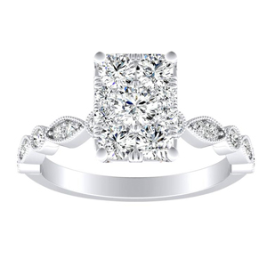 ATHENA Vintage Style Diamond Engagement Ring In 14K White Gold With Radiant Diamond In H-I SI1-SI2 Quality