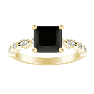 ATHENA  Vintage  Style  Black  Diamond  Engagement  Ring  In  14K  Yellow  Gold  With  1.00  Carat  Princess  Diamond