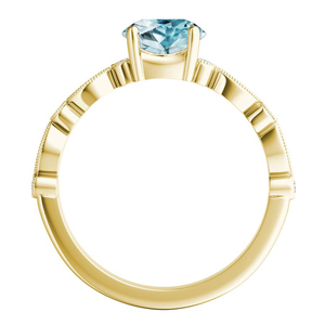 ATHENA  Vintage  Style  Aquamarine  Engagement  Ring  In  14K  Yellow  Gold  With  1.00  Carat  Pear  Stone