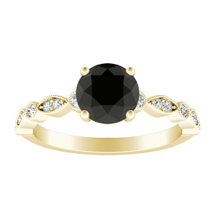 ATHENA  Vintage  Style  Black  Diamond  Engagement  Ring  In  14K  Yellow  Gold  With  1.00  Carat  Round  Diamond