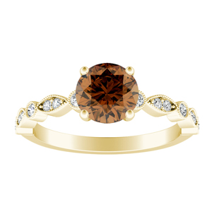 ATHENA  Vintage  Style  Brown  Diamond  Engagement  Ring  In  14K  Yellow  Gold  With  0.50  Carat  Round  Diamond