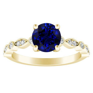 ATHENA Vintage Style Blue Sapphire Engagement Ring In 14K Yellow Gold With 0.50 Carat Round Stone