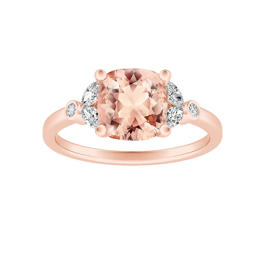 PRIMROSE Morganite Engagement Ring In 14K Rose Gold With 1.00 Carat Cushion Stone