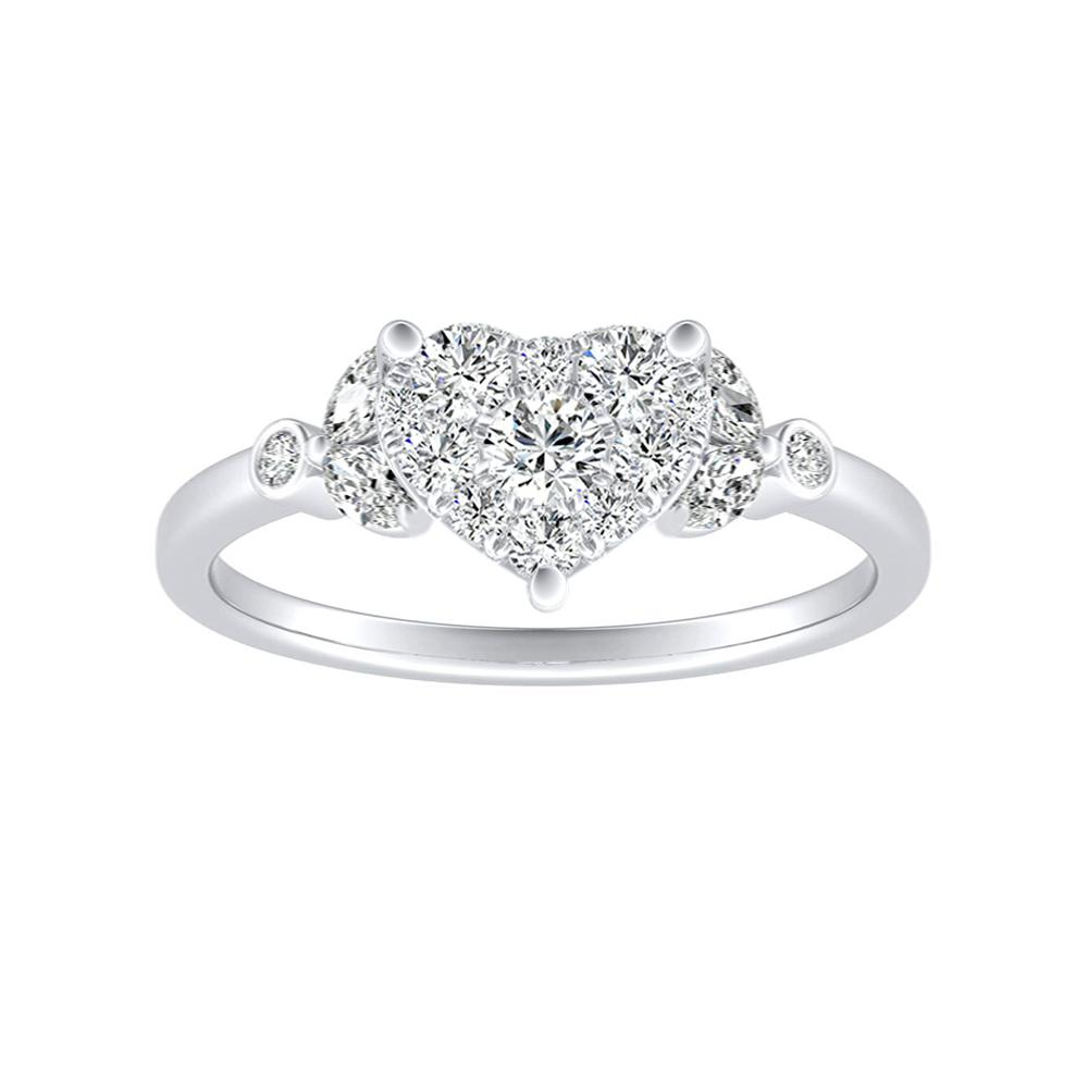 PRIMROSE Diamond Engagement Ring In 14K White Gold With Heart Diamond In H-I SI1-SI2 Quality