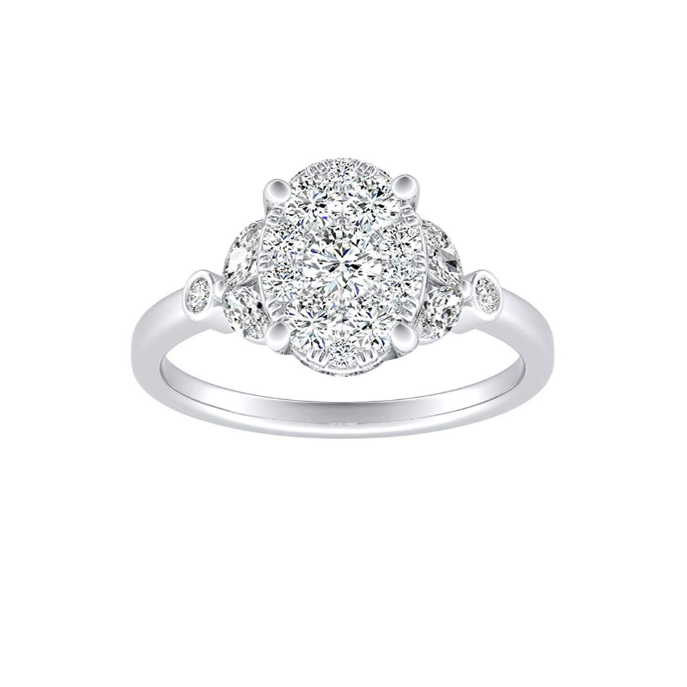 PRIMROSE Diamond Engagement Ring In 14K White Gold With Oval Diamond In H-I SI1-SI2 Quality