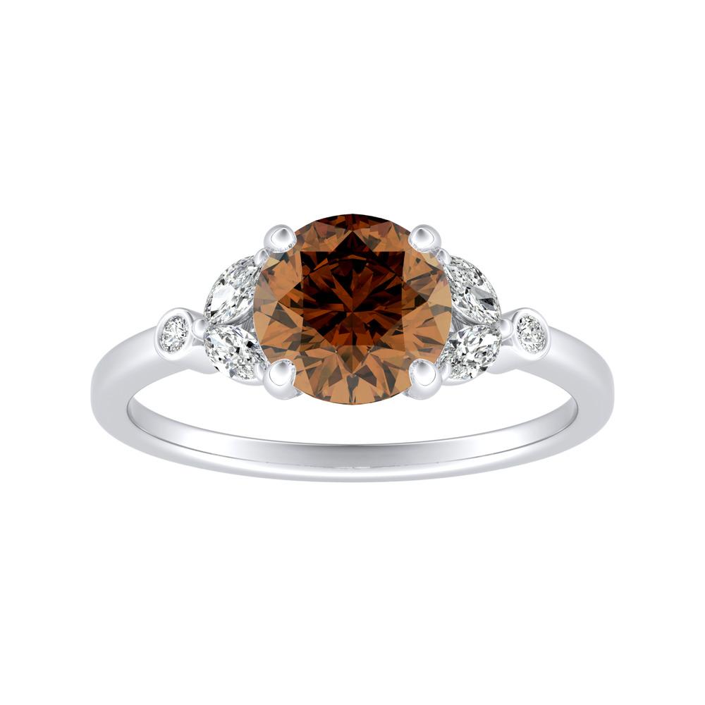 PRIMROSE Brown Diamond Engagement Ring In 14K White Gold With 0.50 Carat Round Diamond