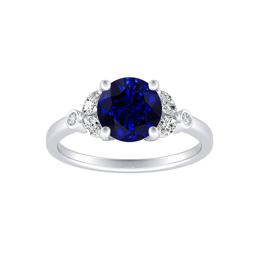 PRIMROSE Blue Sapphire Engagement Ring In 14K White Gold With 0.50 Carat Round Stone