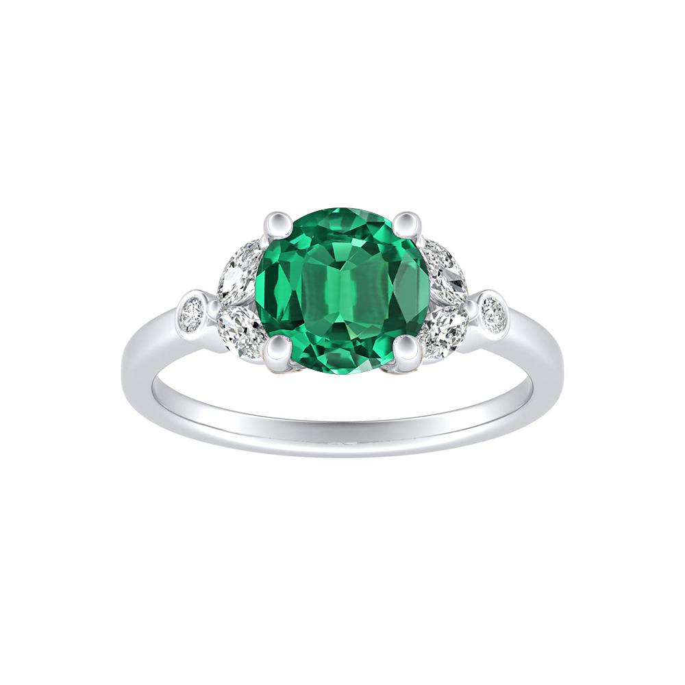 PRIMROSE Green Emerald Engagement Ring In 14K White Gold With 0.50 Carat Round Stone