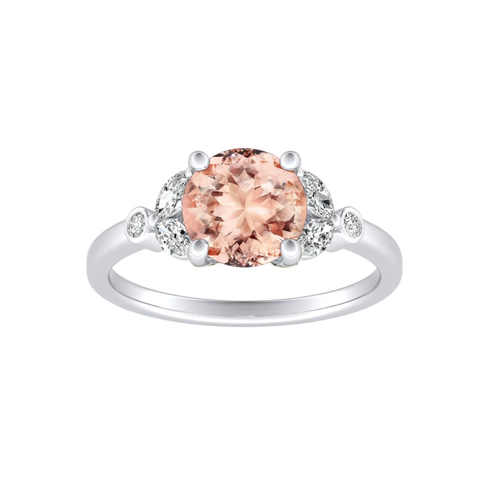 PRIMROSE Morganite Engagement Ring In 14K White Gold With 1.00 Carat Round Stone
