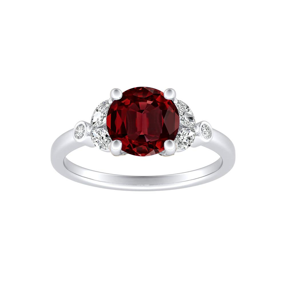 PRIMROSE Ruby Engagement Ring In 14K White Gold With 0.50 Carat Round Stone
