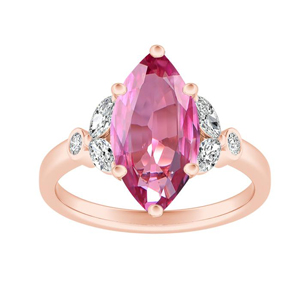 PRIMROSE  Pink  Sapphire  Engagement  Ring  In  14K  Rose  Gold  With  0.50  Carat  Marquise  Stone