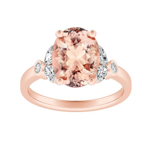 PRIMROSE  Morganite  Engagement  Ring  In  14K  Rose  Gold  With  1.00  Carat  Oval  Stone