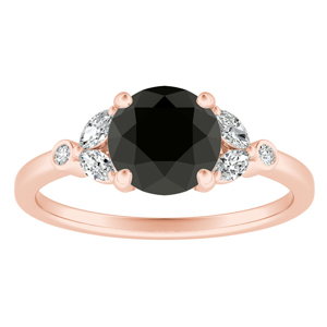 PRIMROSE  Black  Diamond  Engagement  Ring  In  14K  Rose  Gold  With  1.00  Carat  Round  Diamond