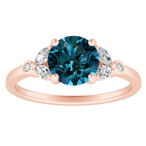 PRIMROSE  Blue  Diamond  Engagement  Ring  In  14K  Rose  Gold  With  0.50  Carat  Round  Diamond
