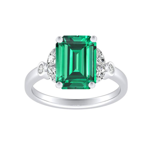 PRIMROSE  Green  Emerald  Engagement  Ring  In  14K  White  Gold  With  0.50  Carat  Emerald  Stone