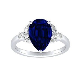 PRIMROSE  Blue  Sapphire  Engagement  Ring  In  14K  White  Gold  With  0.50  Carat  Pear  Stone