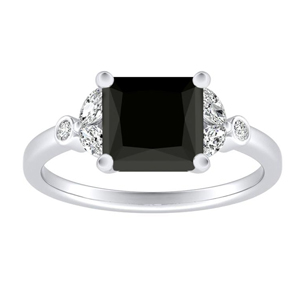 PRIMROSE  Black  Diamond  Engagement  Ring  In  14K  White  Gold  With  1.00  Carat  Princess  Diamond