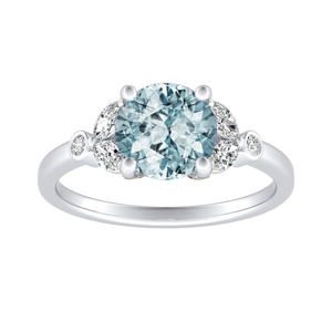 PRIMROSE  Aquamarine  Engagement  Ring  In  14K  White  Gold  With  1.00  Carat  Round  Stone