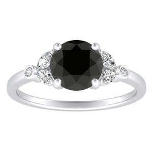 PRIMROSE  Black  Diamond  Engagement  Ring  In  14K  White  Gold  With  1.00  Carat  Round  Diamond