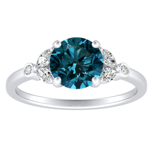 PRIMROSE  Blue  Diamond  Engagement  Ring  In  14K  White  Gold  With  0.50  Carat  Round  Diamond