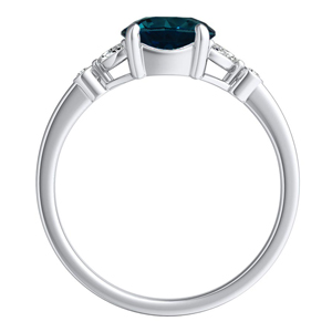 PRIMROSE  Blue  Diamond  Engagement  Ring  In  14K  White  Gold  With  0.50  Carat  Round  Diamond