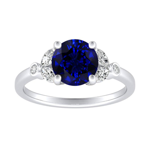 PRIMROSE Blue Sapphire Engagement Ring In 14K White Gold With 0.30 Carat Round Stone