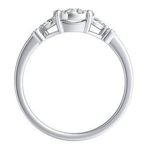 PRIMROSE Diamond Engagement Ring In 14K White Gold With Round Diamond In H-I SI1-SI2 Quality