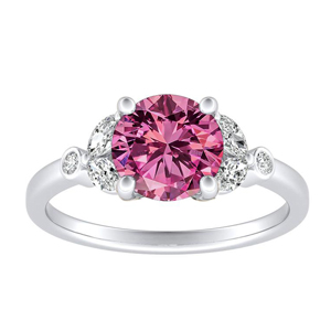 PRIMROSE  Pink  Sapphire  Engagement  Ring  In  14K  White  Gold  With  0.50  Carat  Round  Stone