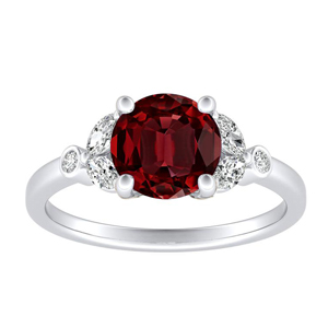 PRIMROSE Ruby Engagement Ring In 14K White Gold With 0.30 Carat Round Stone