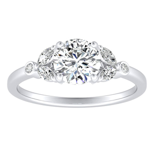 PRIMROSE Moissanite Engagement Ring In 14K White Gold With 0.50 Carat Round Stone